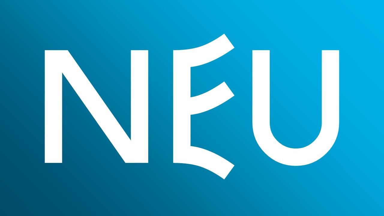 """Das Wort """"Neu"""" auf blauem Hintergrund"""